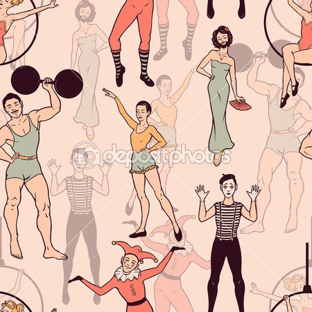 Seamless pattern with circus performers. Vector seamless texture for wallpapers, pattern fills, web page backgrounds