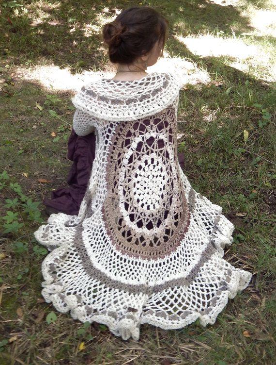 Crochet Duster Jacket Emmylou Bell Sleeve Lace Cardigan