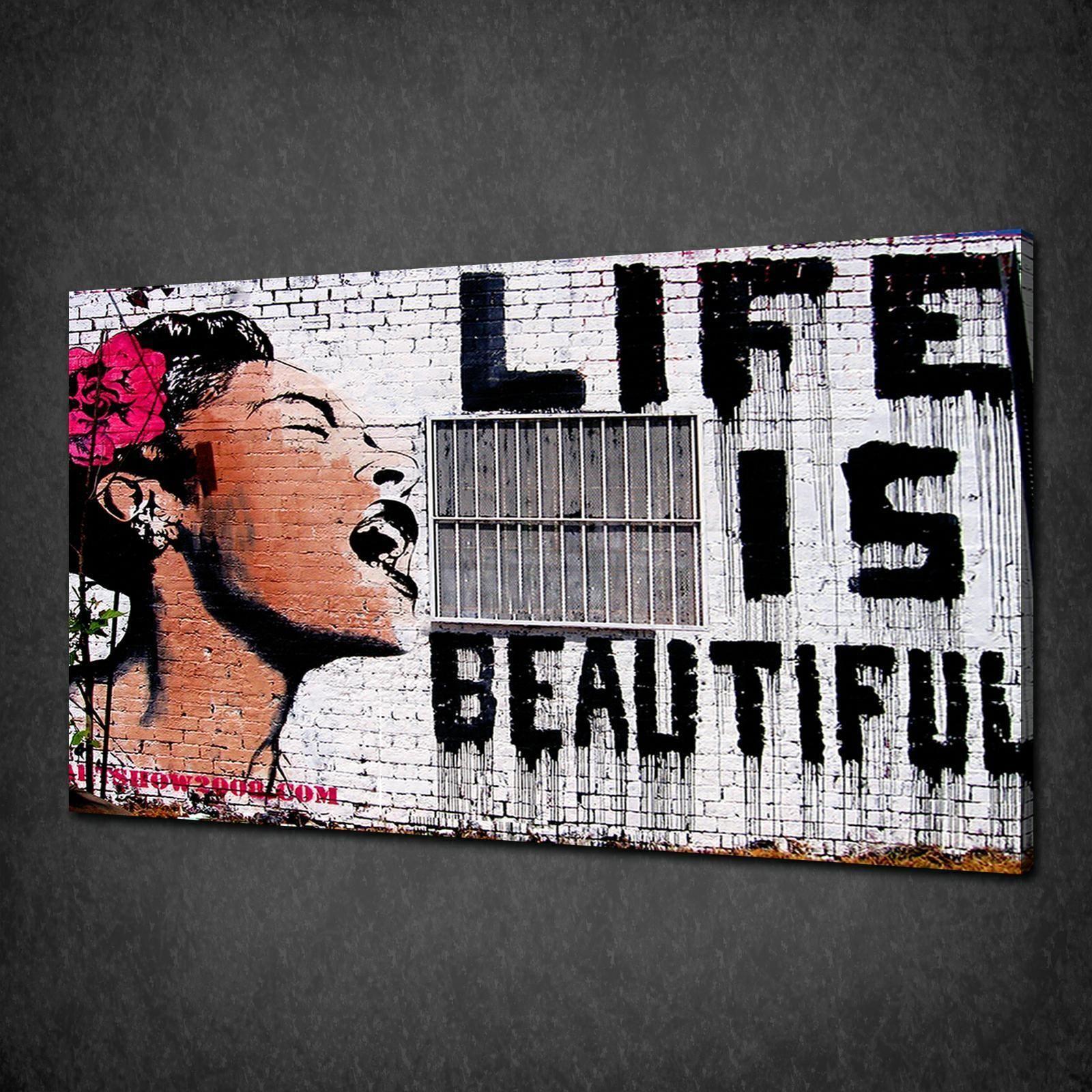 Banksy life is beautiful graffiti canvas print street art beautiful graffiti free uk banksy