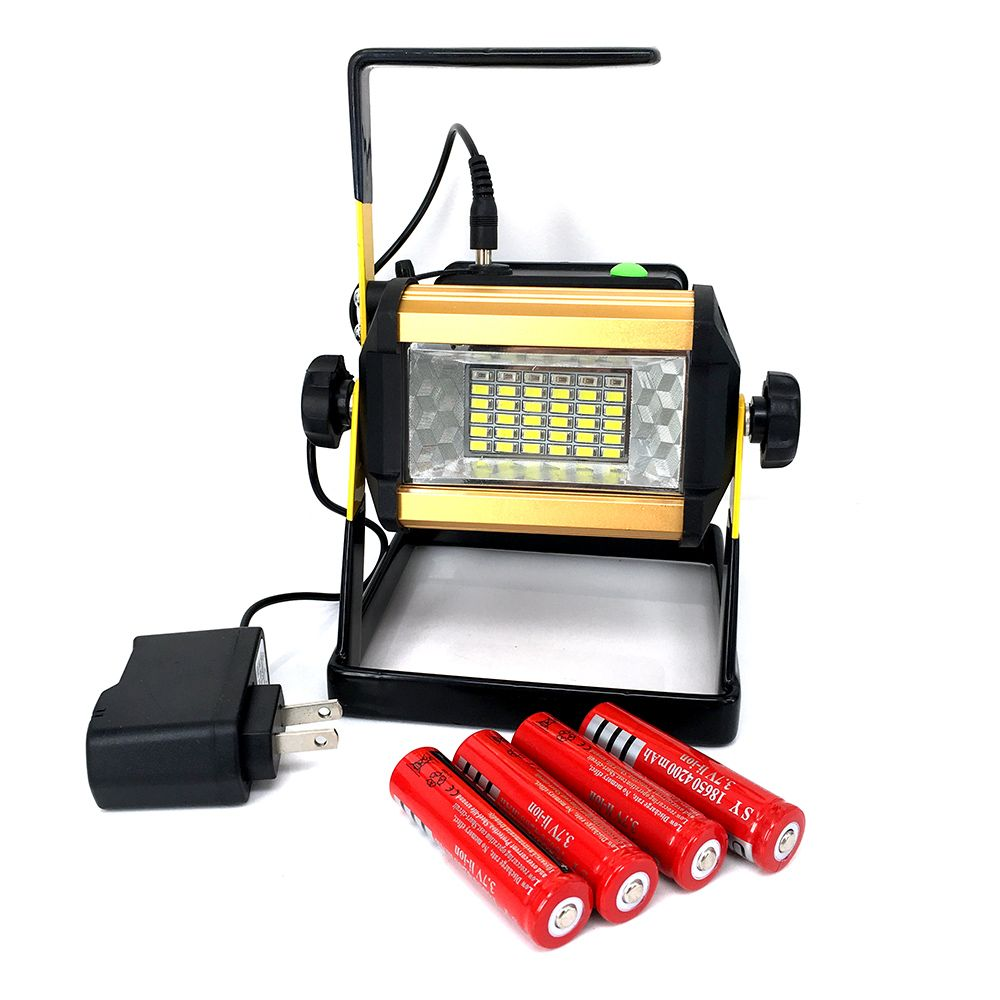 4 18650 Battery 30w Floodlights Rechargeable 36 Led Light Lamp Red White Blue Light For Outdoor Camping Wor Led Flood Lights Led Outdoor Lighting Flood Lights