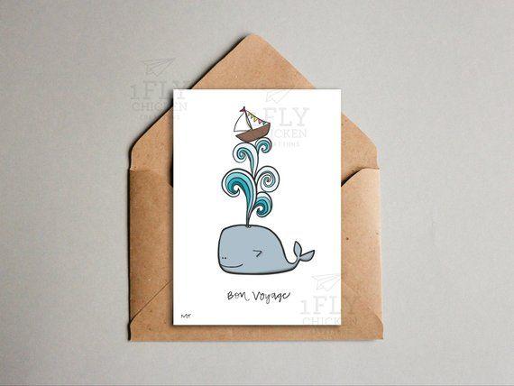 Cute Whale Card - Printable Goodbye Card - Fun Farewell - Instant