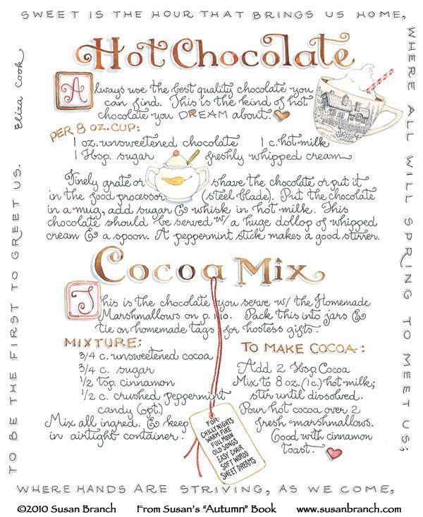 windmillsnat:    Hot Chocolate! By Susan Branch