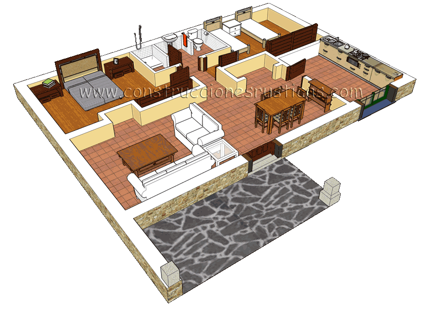 3d interior de casa rustica de planta baja hogar for Casa de planta baja
