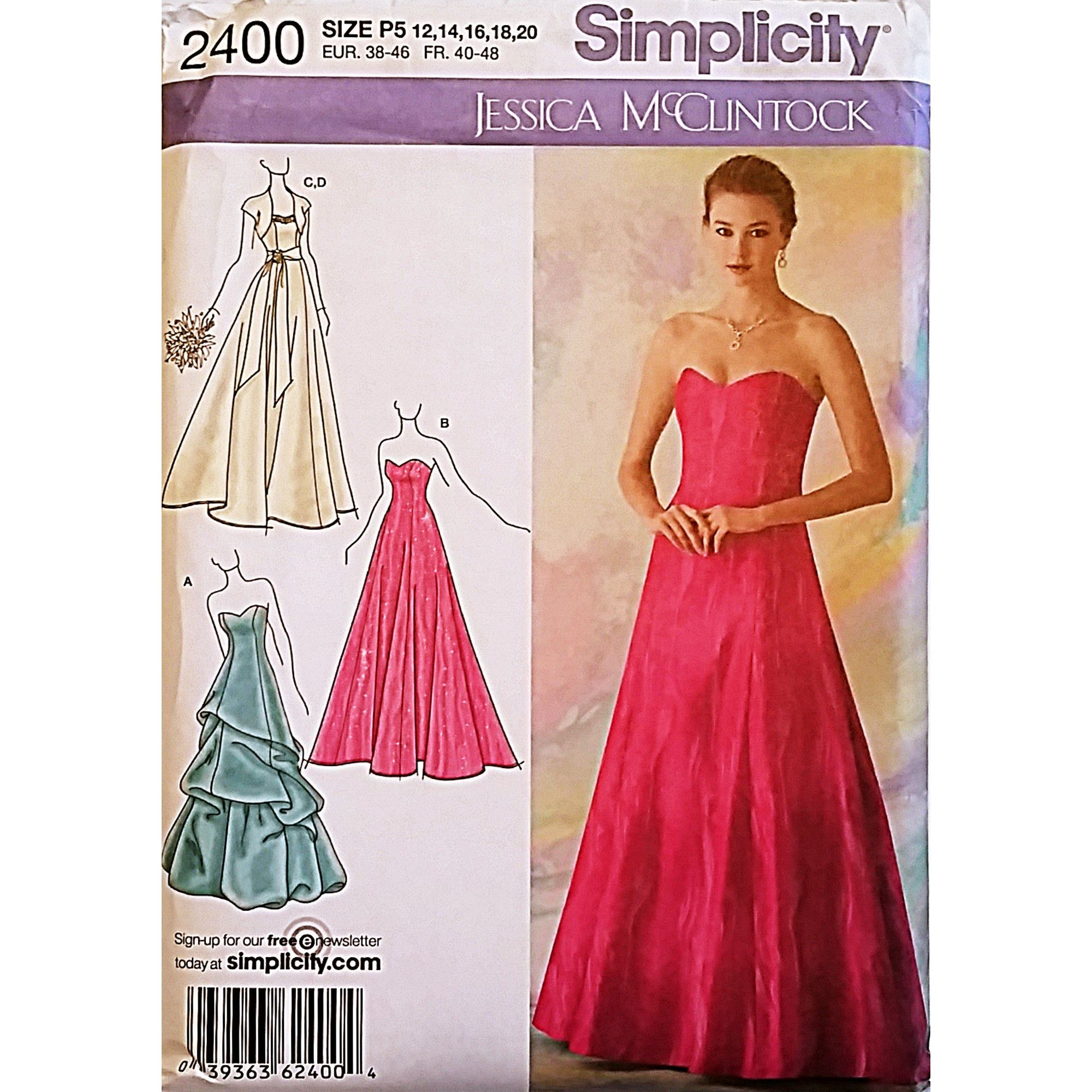 Misses Evening Dress Gown Bolero Simplicity 2400 Sewing Pattern Size ...