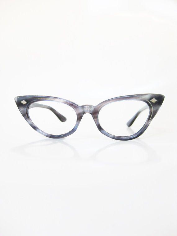 914ce06cc6b Vintage Blue Cat Eye Eyeglasses 1950s Womens Cateye Eyeglass Frames Dusty  Cornflower Metallic Pearl 50s Fifties Mad Men Classic Ladies