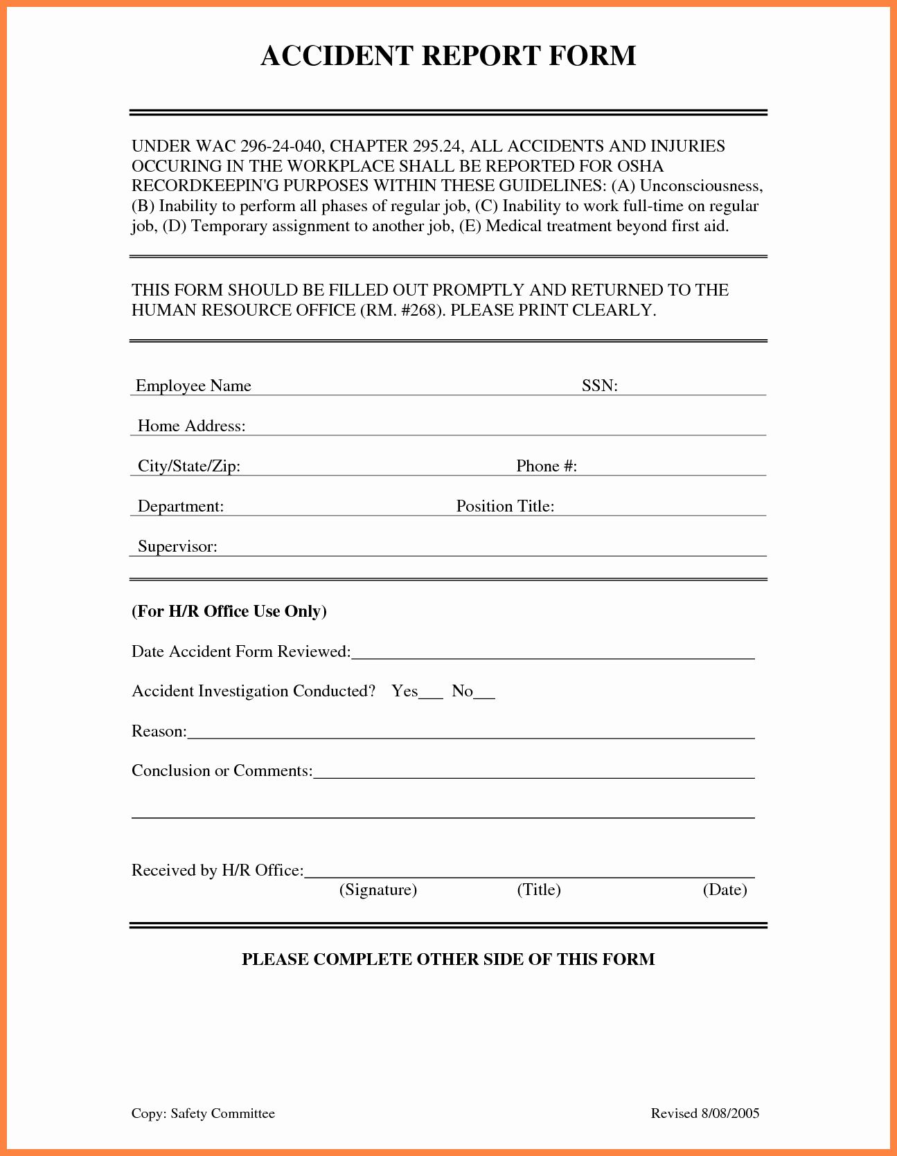 Workplace Incident Report Form Template Free Lovely 4 Accident Incident Report Form Template Incident Report Form Progress Report Template Incident Report