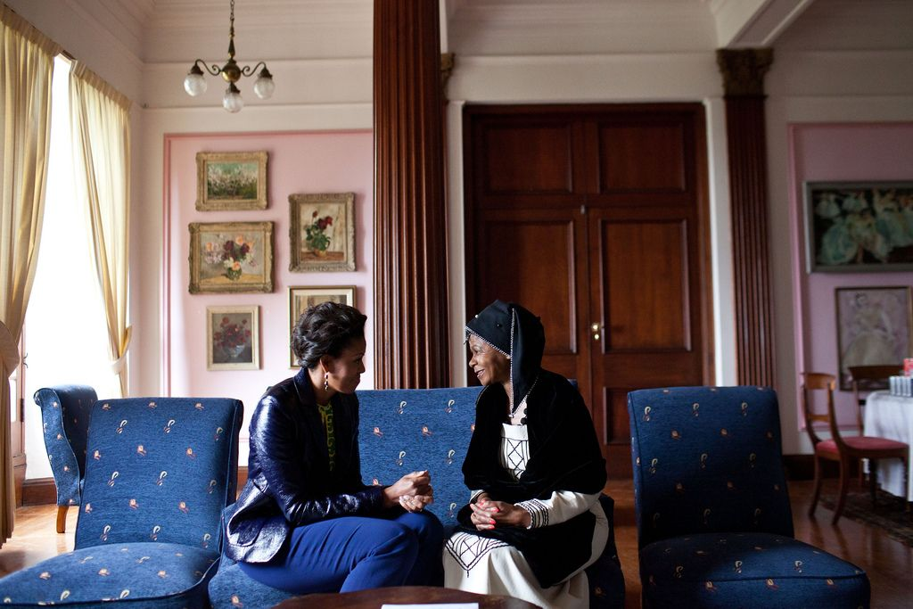 First Lady Michelle Obama meets with Dr. Mamphela Ramphele at the University of Cape Town in...