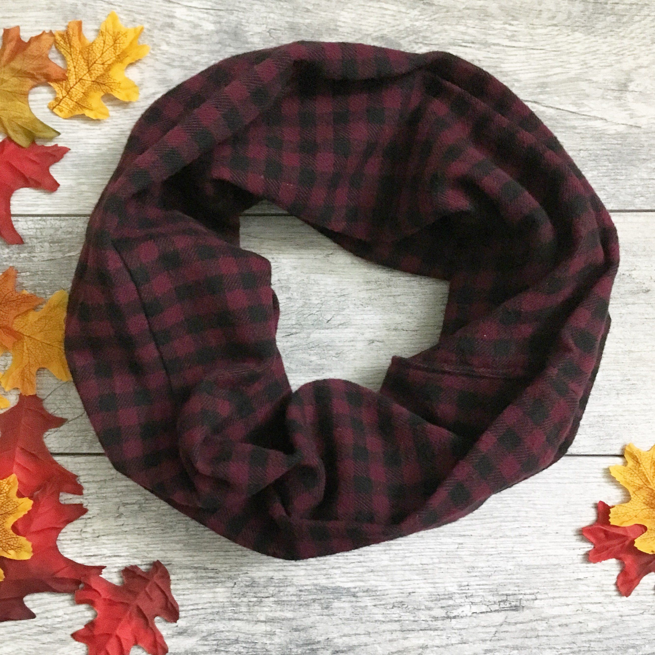 963cffcc0 Purple Plaid Infinity Scarf Single Loop Fall Cowl | Scarves For Women