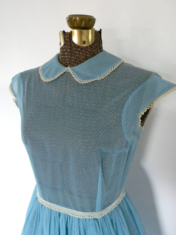 50s Alice in Wonderland Blue Sheer Day Dress\