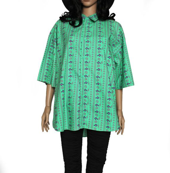 LRG 90's Fish Print Button Up Shirt Seafoam Green by