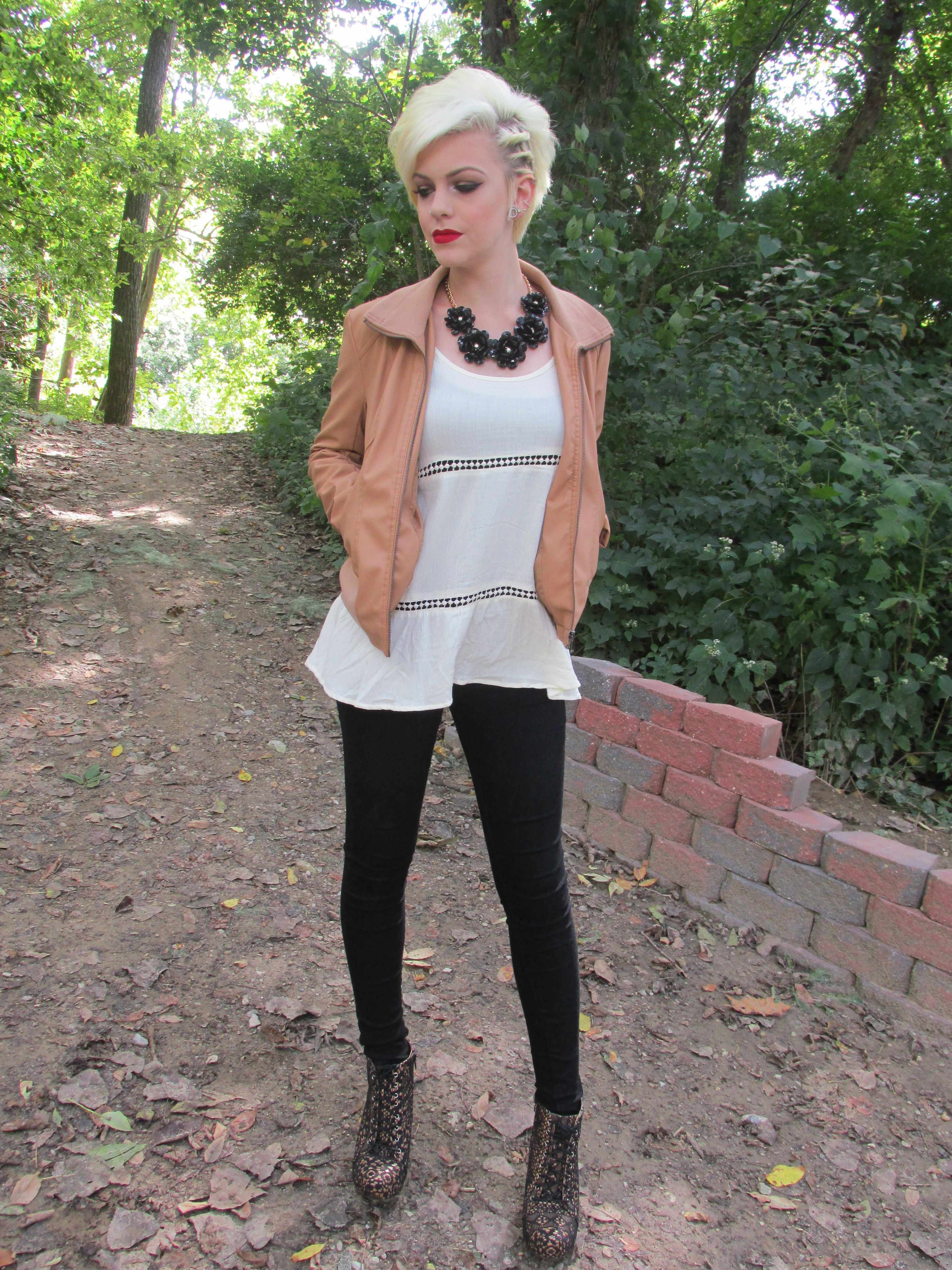 Teen fall fashion baby doll top in white with tan jacket