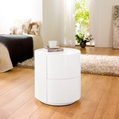 Dwell Sphere Gloss Bedside Table White 199