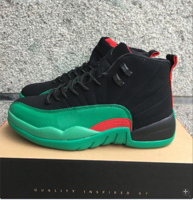 ea28090f3db76 New Air Jordan 12 Retro Black Green Red Shoes airjordangiveaway ...