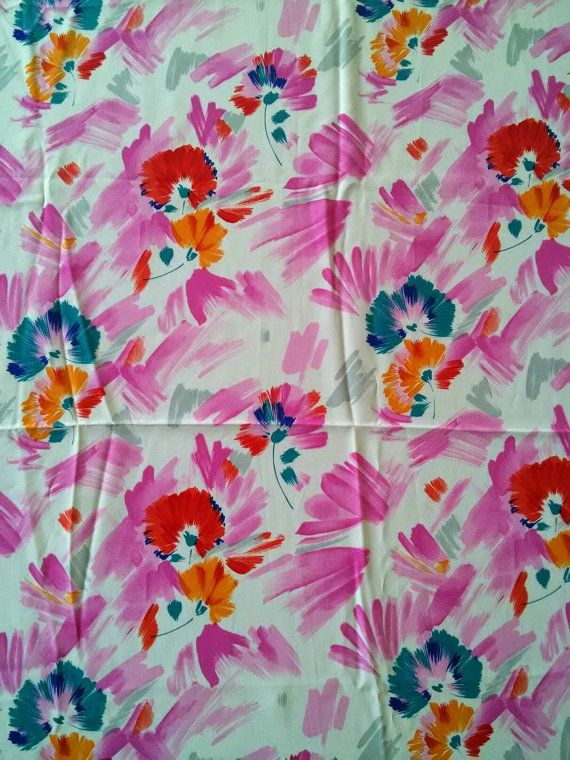 Vintage Floral Silk Print Fabric In Pink Orange By Yourstyletwin