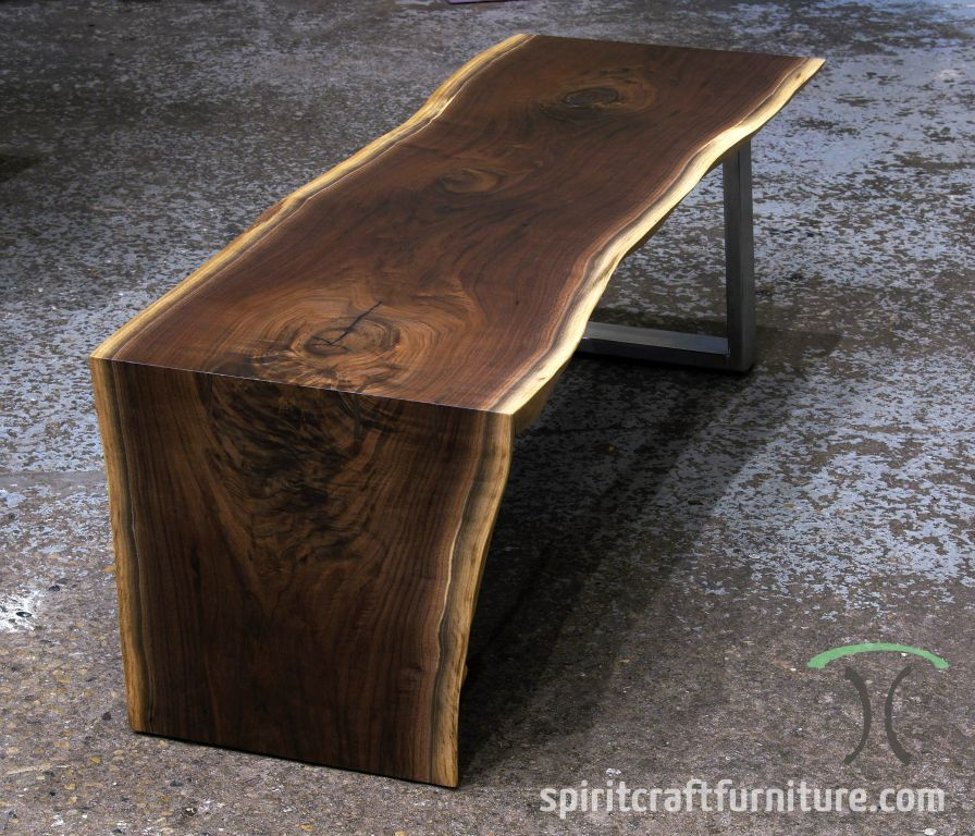 Vintage Industrial Live Edge Walnut Slab Coffee Table: Live Edge And Slab Dining And Conference Tables And Tops