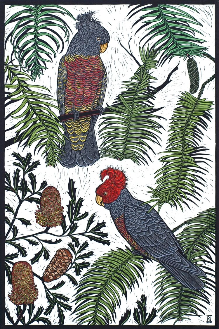Bird Linocut  by Rachel Newling