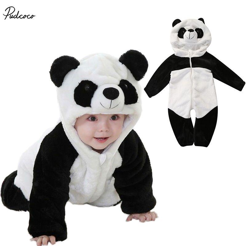6a3a0108059f 2017 Ragazzi Inverno Caldo Vestiti di cotone Neonato Neonati maschi Femmine  Panda One Piece Pagliaccetti Lunghi Del Manicotto