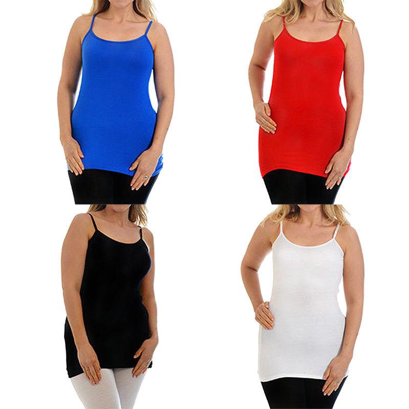 a3463c81054 Plus Size Women Long Camisole Long Vest Basic Plain Tunic T shirt Tank Tops  NEW  Mopas  TankCami  EveningOccasion