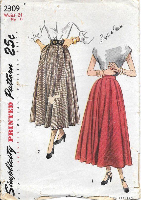 6002da31ce 1940s Simplicity 2309 Misses Bias Cut Skirt with Double Pleats Vintage Sewing  Pattern Waist 24 Side Pockets
