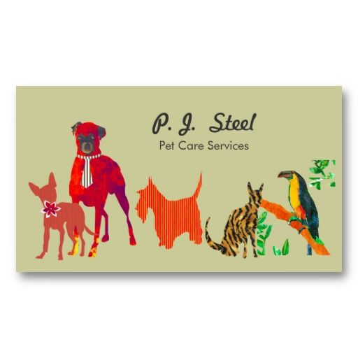 Watercolor Trendy Cute Animal Pets Dogs Cats Square Business Card