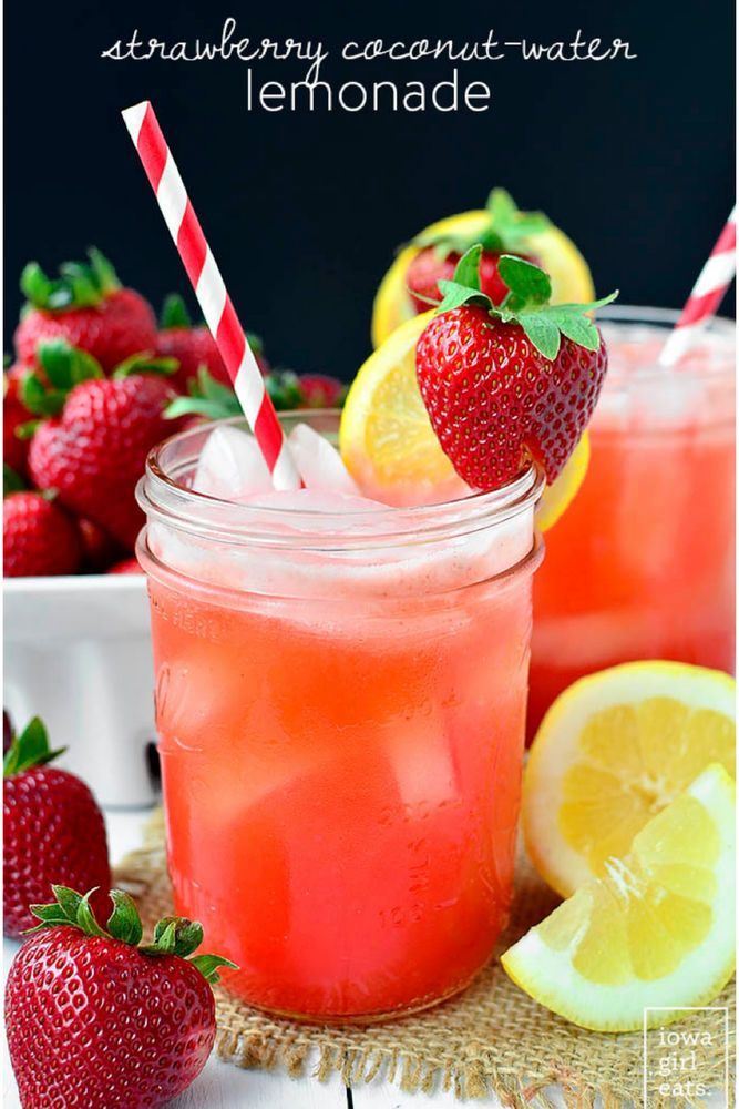 Strawberry coconut water lemonade is as amazing as it sounds.