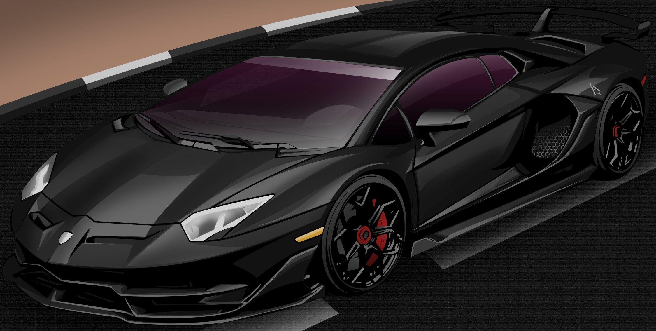 Lamborghini Aventador Cartoon Wallpaper