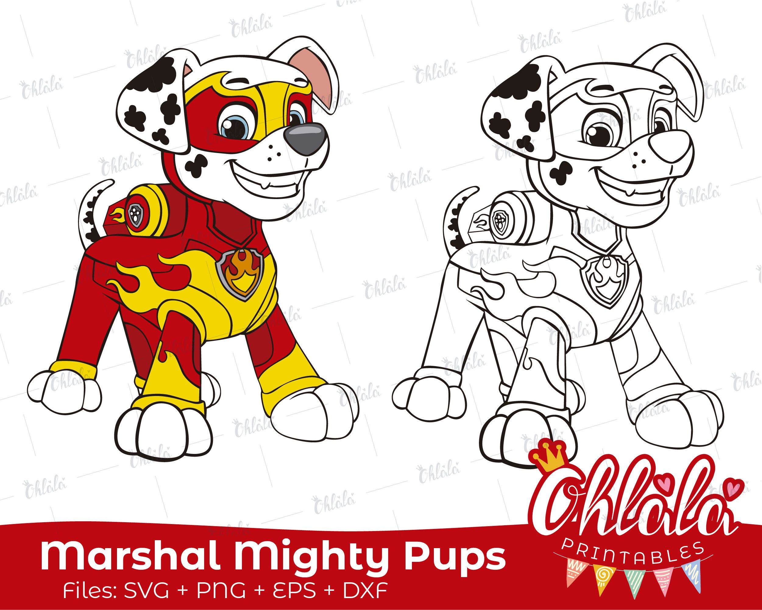 Marshall Paw Patrol Mighty Pups Clipart Character Movie Svg Png Eps Dxf Files Printables Party Happy Birthda Paw Patrol Coloring Marshall Paw Patrol Paw Patrol