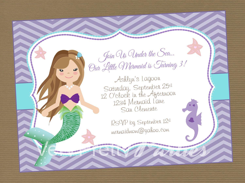 mermaid birthday party invite