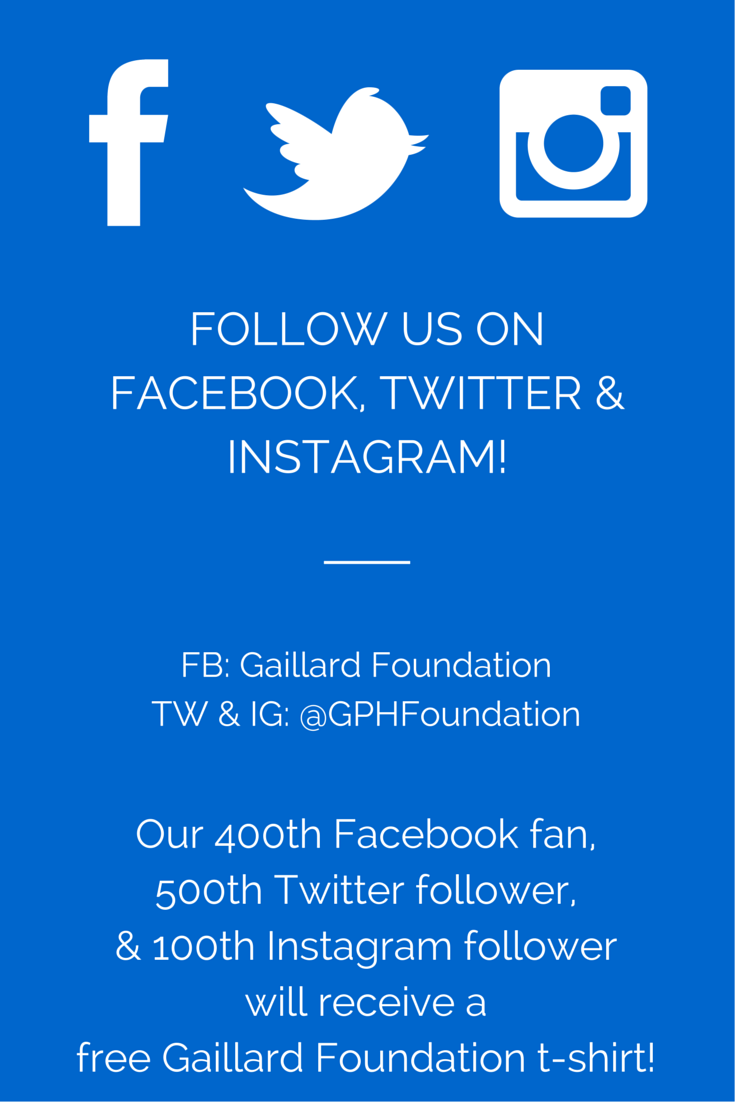 Follow Us On Facebook Twitter Instagram For Your Chance To Win A Free Gaillard Foundation T Shirt Instagram Followers Twitter Instagram Twitter Followers
