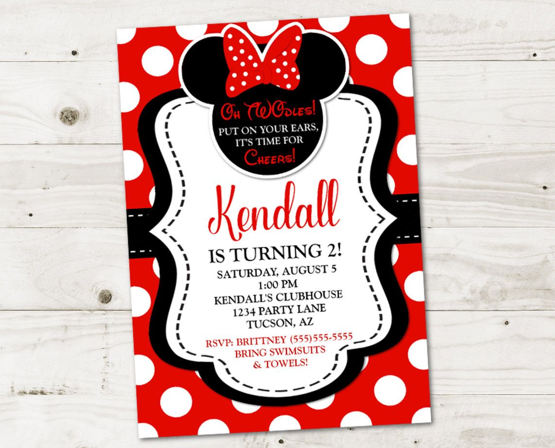 Red Minnie Mouse Birthday Party Ideas Printable 5x7 Invitation Personalized With Your Information