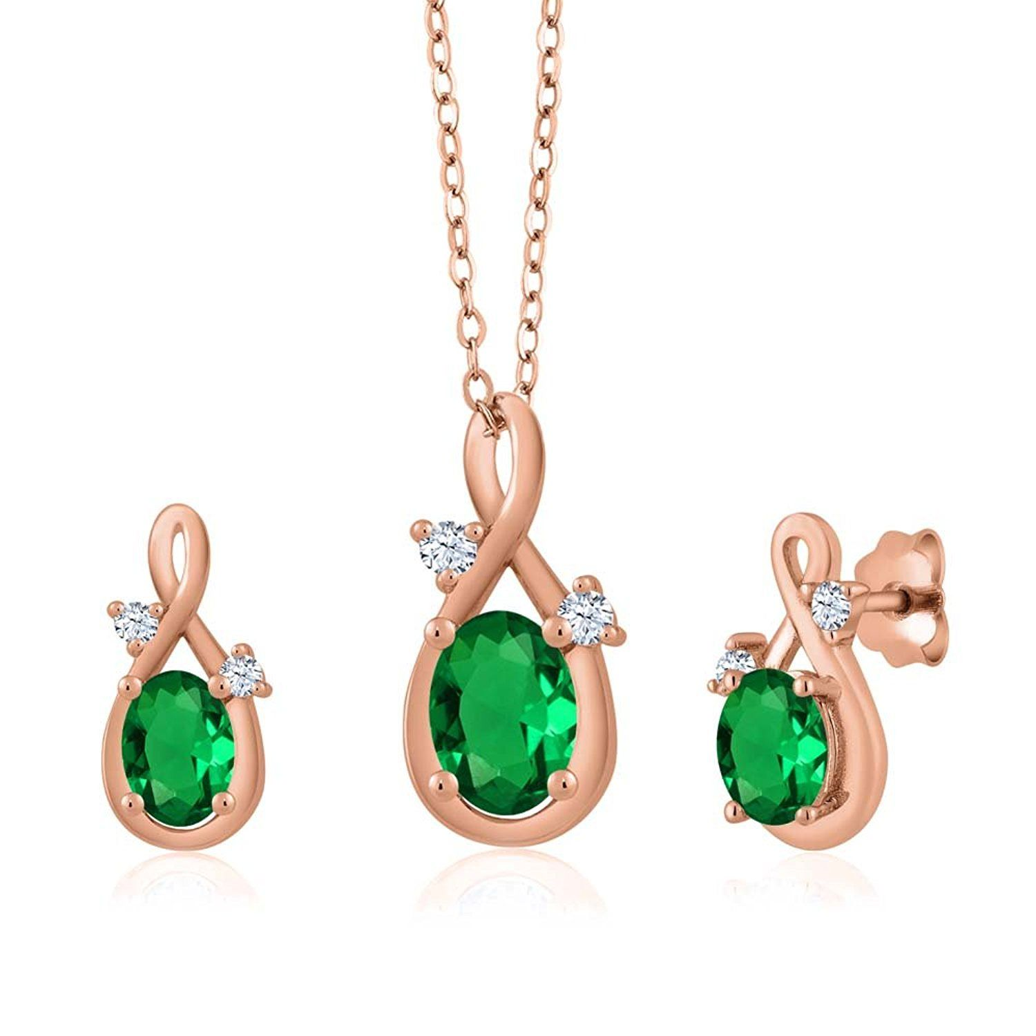ct oval green simulated emerald k rose gold pendant earrings