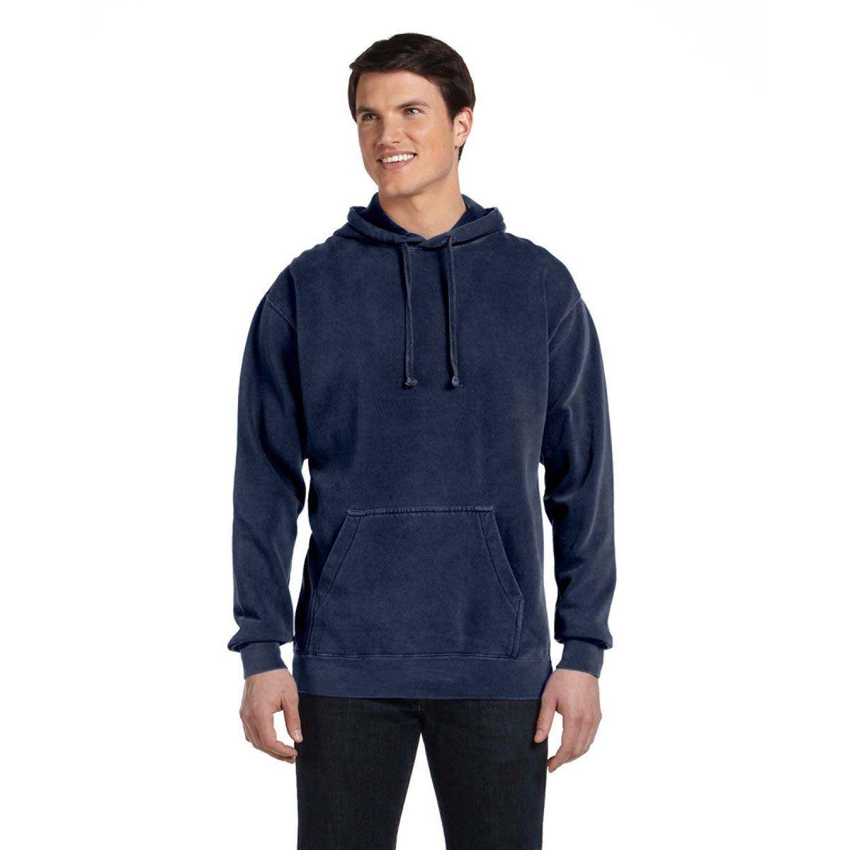 Comfort Colors Men S True Navy 9 5 Oz Hooded Sweatshirt Hooded