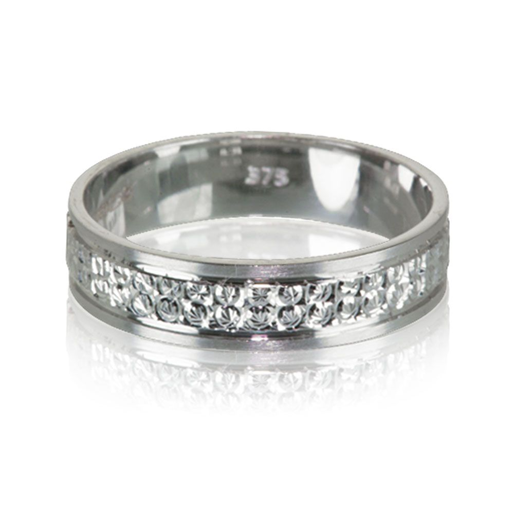 9ct White Gold Patterned Ladies Wedding Ring 45mm