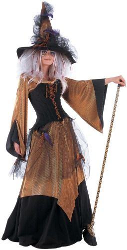 Womens Witch Fancy Dress Costume with Hat Ladies Orange Witch Halloween Outfit