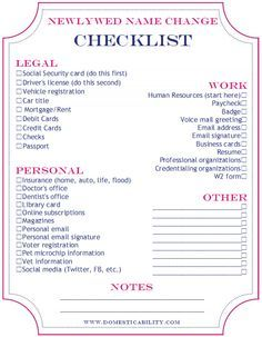 Name change checklist marriage or divorce wedding bells wedding name change check list printable free knowing me ill forget to do half of these junglespirit Gallery