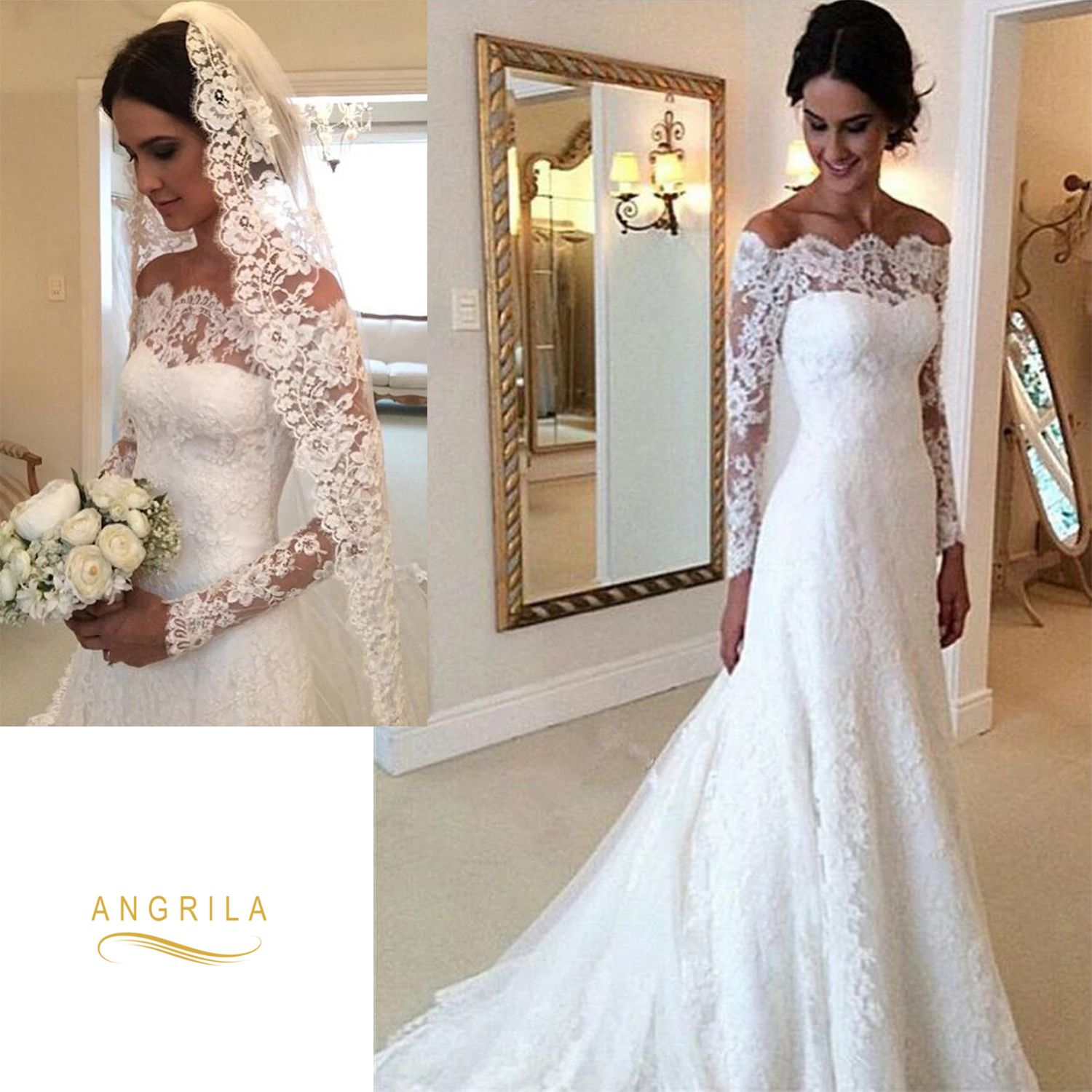 Off The Shoulder Full Long Sleeves Lace Bridal Wedding Dresses Bridal Wedding Dresses Wedding Dresses Wedding Dress Long Sleeve [ 1500 x 1500 Pixel ]