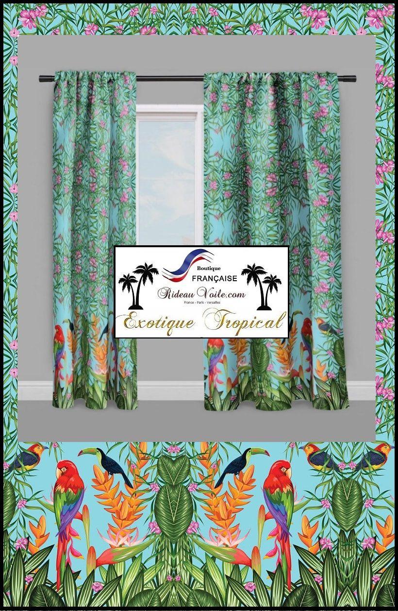 Housse De Couette Sur Mesure Tissu Imprime Motif Tropical Exotique Ethnique Oiseau Oiseaux Fleur Floral Bamb Tissus Rideaux Rideaux Tissu Bambou
