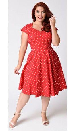 Plus Size 1950s Style Red & White Polka Dot Swing Dress ...