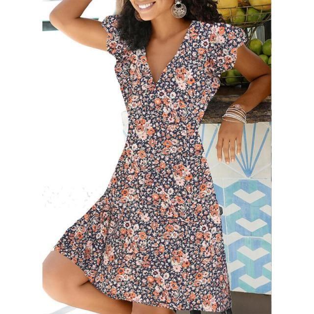 Photo of 2021 Spring Summer Vintage Party Dress V Neck Elegant Sexy Dress Boho Beach Female Floral Print Dresses For Women Clothes – Orange / L