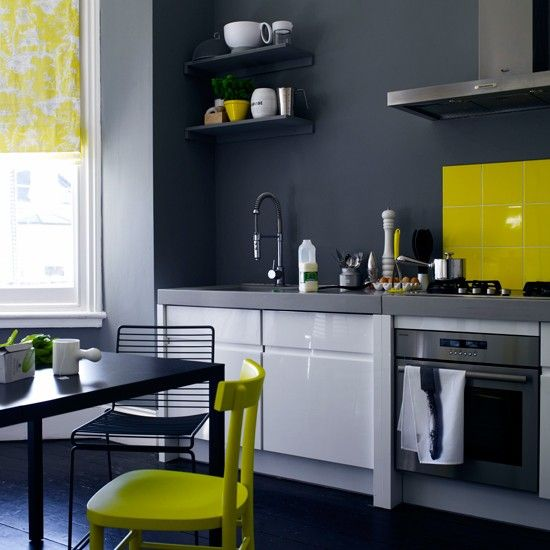 Grey Kitchen With Blue Accents grey and yellow colour schemes | yellow accents, gray kitchens and