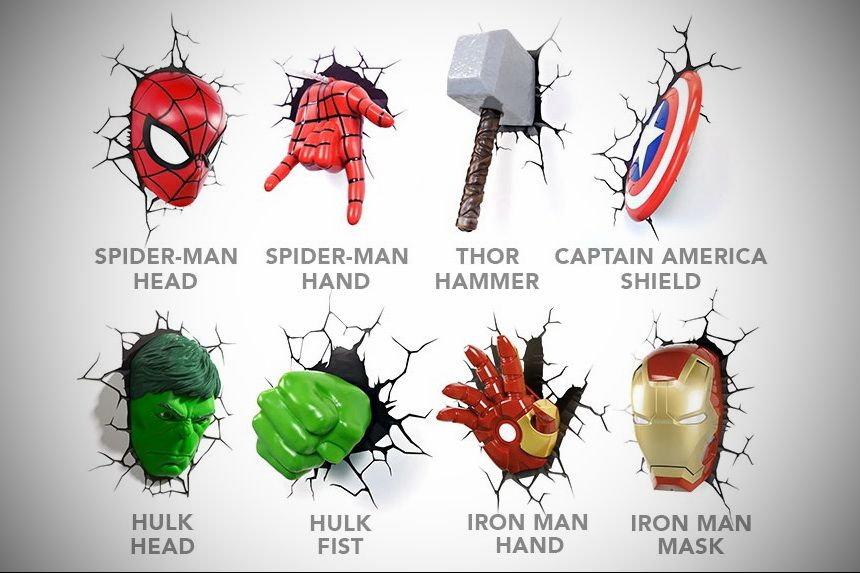 3d Deco Superhero Wall Lights If You Buy This Light For Yourself Then I Don T Like You Marvel Room Avengers Room Avengers Themed Room