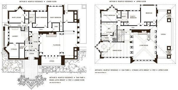 Floor Plan Of The Huertley House Frank Lloyd Wright Oak Park Illinois 1901 Frank Lloyd Wright Floor Plans Vintage House Plans