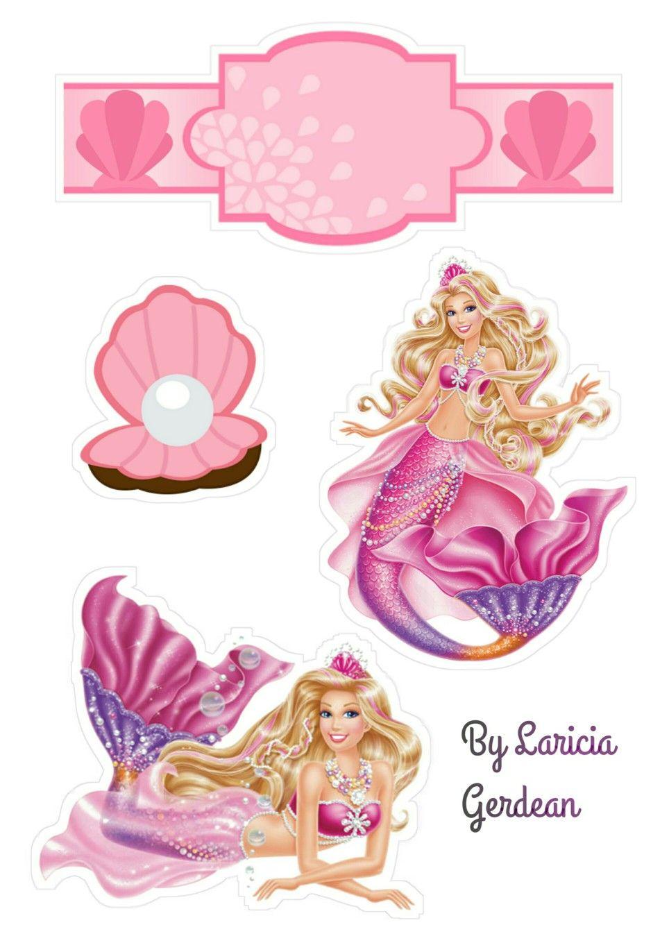 استكرت كرتون Barbie Sereia Decoracao Festa Barbie Bolo Barbie