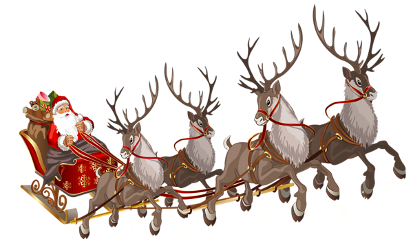 Santa Claus With Sleigh Png Clipart Image Santa Sleigh Vintage Christmas Images Reindeer And Sleigh