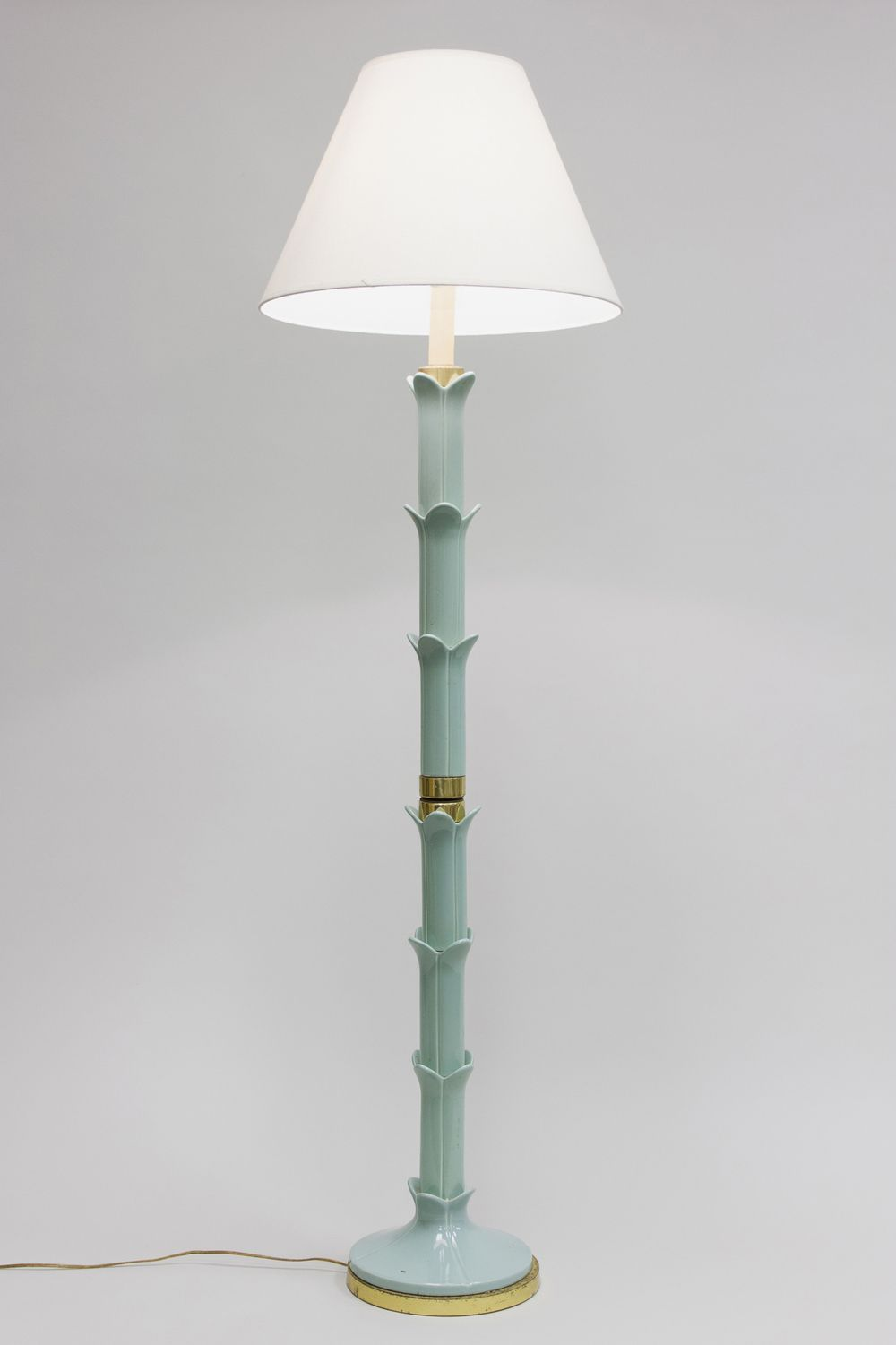 Vintage Turquoise Ceramic Faux Bamboo Floor Lamp Very Intricately