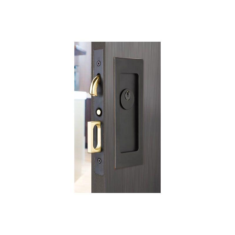 Emtek 2113 7 1 4 Height Keyed Entry Pocket Door Mortise Lock From The Modern Re Oil Rubbed Bronze Pocket Door Lock Keyed Entry Mortise Pocket Door Hardware Pocket Door Lock Pocket Door Handles