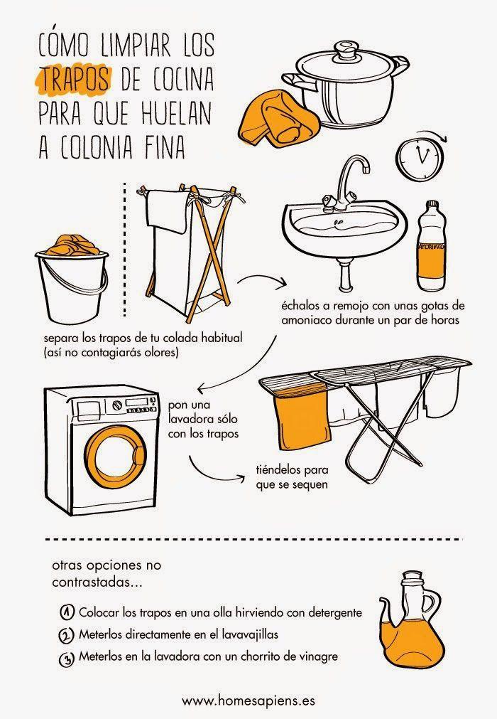 C mo limpiar los trapos de cocina para que huelan - Como limpiar baldosas cocina ...