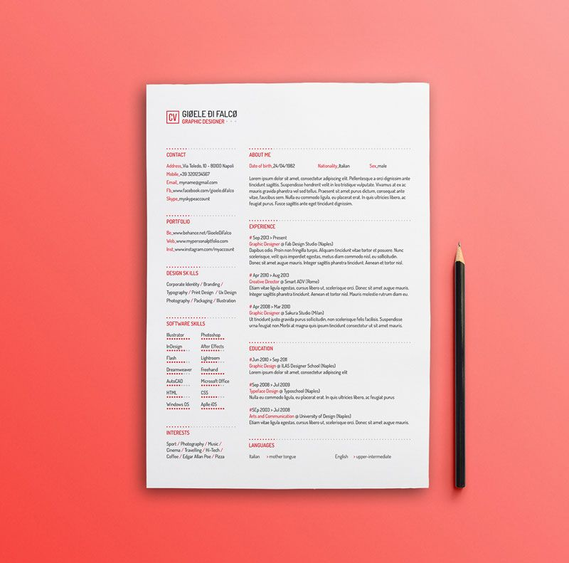 key words for resume%0A Best Free Clean Resume Templates in PSD  AI and Word Docx Format
