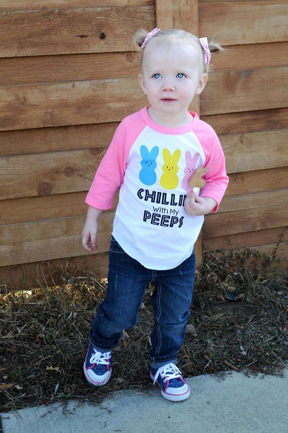 Chillin' with my Peeps, Kids Easter Raglan, Boys Easter Shirts, Girls Easter Shirts, Toddler Easter Shirt, Youth Easter Shirt, Peeps Shirt #easter #ad
