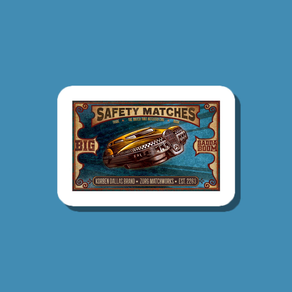A matchbox cover style stickers sporting a Korben Dallas